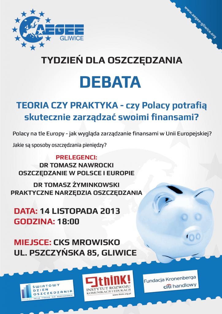 Plakat Debata w ramach Tygodnia dla Oszczędzania